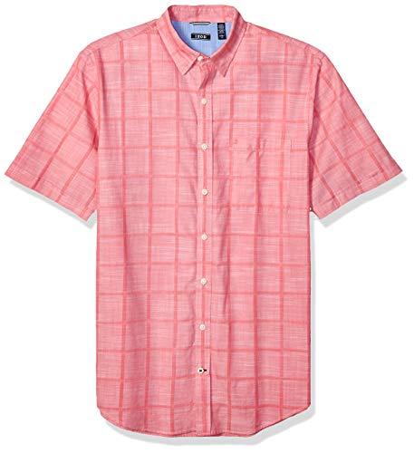 IZOD Men's Tall Saltwater Short Sleeve Windowpane Button Down Shirt, Rapture Rose, 3X-Large Big