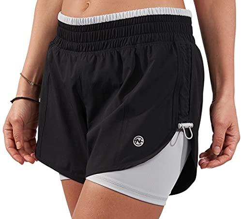 Nautica Competition - Pantalones cortos para mujer con compresión interior, negro, gris, (Black - Grey), Large