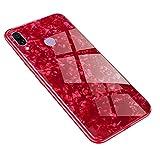AIsoar Custodia per Huawei Honor Play Cover + Vetro Temperato Cover Posteriore+Ultra Thin Slim Trasparente TPU Silicone Morbid Modello Custodia Antiurto Antigraffio Brillante Shell Rosso (red)