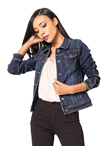 Crazy Age Damen Jeansjacke Blazer Übergangsjacke Sommer Jacke (M~36, Denim Blau)
