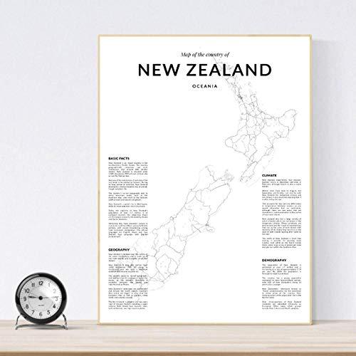 LLXHG Nieuw-Zeeland landkaart kunstaffiche en drukken, Nieuw-Zeeland landkaart poster wandkunst canvas schilderij woonkamer minimalistisch decoratie-50X70cm geen lijst