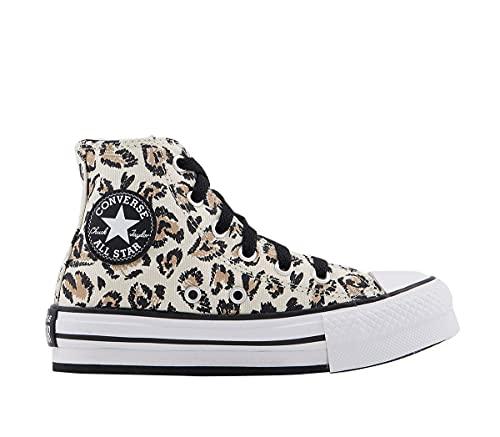 Converse - Zapatillas altas - Modelo Jungle Cats Chuck Taylor All Star - Color marrón y negro - Zapatillas de lona para niños, Driftwood Negro Blanco Leopardo, 34 EU