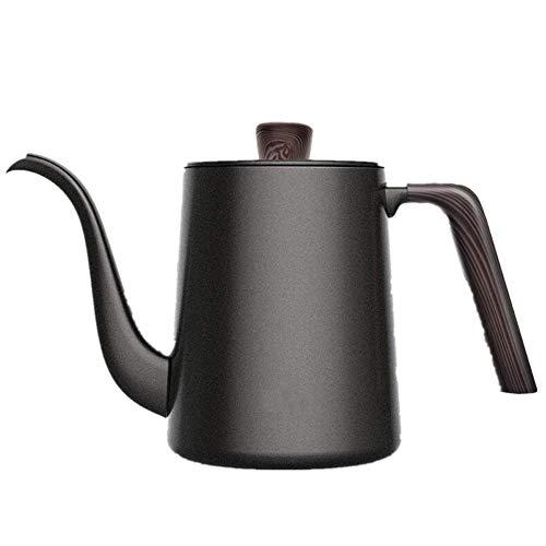 Djy-jy Bouilloire inoxydable bouilloire café goutte à goutte Plus bouilloire à thé café filtre à col de cygne avec poignée en bois crème et lait cruches (Couleur: Noir, Taille: Taille)