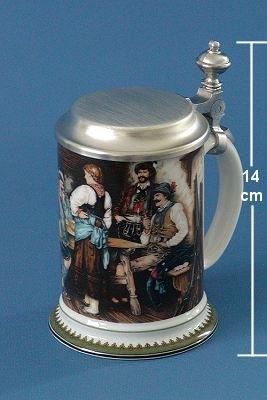 Zimmermann Bierseidel Bier-Krug Damenkrug mit Zinndeckel Wilderer in der Hütt'n 0,3l