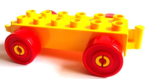 Lego Duplo Auto Anhänger Stein 2x6 gelb + rote Räder Eisenbahn