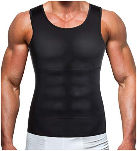 Gotoly Men Compression Shirt Shapewear Slimming Body Shaper Vest Undershirt Weight Loss Tank Top (Black, L: Fit Waist 31.5-33.4 Inch)