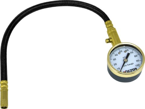Victor 22-5-60108-8 Dial Tire Gauge with Flexible Hose