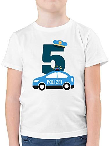 Geburtstag Kind - Polizei Geburtstag 5-104 (3/4 Jahre) - Weiß - F130K - Kinder Tshirts und T-Shirt für Jungen