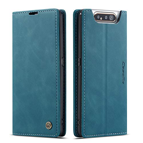 QLTYPRI Hülle für Samsung Galaxy A80 A90, Vintage Dünne Handyhülle mit Kartenfach Geld Slot Ständer PU Ledertasche TPU Bumper Wallet Hülle Flip Schutzhülle für Samsung Galaxy A80 A90 - Blau