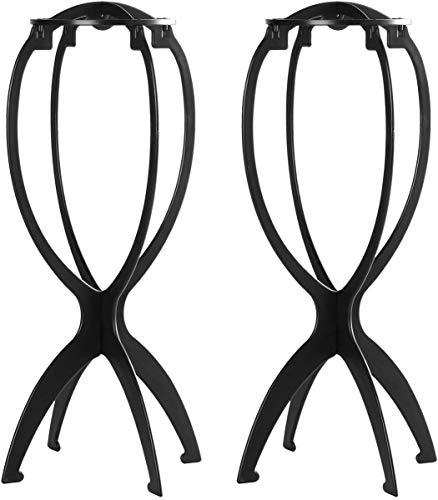 Yunsi Kurze Perückenständer für Perücken, 36,8 cm, tragbar, zusammenklappbar, Perückentrockner, strapazierfähig, für die Reise, 2 Stück, schwarz