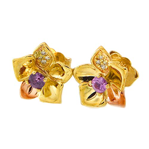 Clogau Gold Welsh Womens 375 9ct Yellow and Rose Gold Sapphire and Diamond Orchid Post and Butterfly Stud Earrings