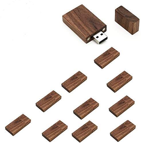 Paquete de 10 unidades rectangulares de madera de nogal 2.0/3.0 USB Flash Drive Memory Stick con madera (64GB/2.0)
