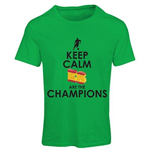 lepni.me Camiseta Mujer Españoles Son los campeones, Campeonato de Rusia 2018, Copa del Mundo - Equipo del fútbol de Camisa del admirador de España (X-Large Verde Multicolor)
