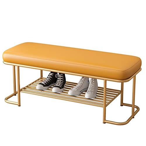 WHOJA Zapatero Banco de Zapatos Moderno Cojín de PU Estante de Almacenamiento de Hierro Forjado para Dormitorio, Sala de Estar, Pasillo Fuerte y Robusto Longitud 80 / 100cm Estantería