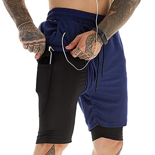 Tuopuda Pantaloncini Sportivi Uomo, 2 in 1 Pantaloncini da Palestra Fitness Shorts Estivi Pantaloni Corta con Tasche Foro per Cuffie Vita Elasticizzata Asciugatura Veloce, A-Marina Militare, XL