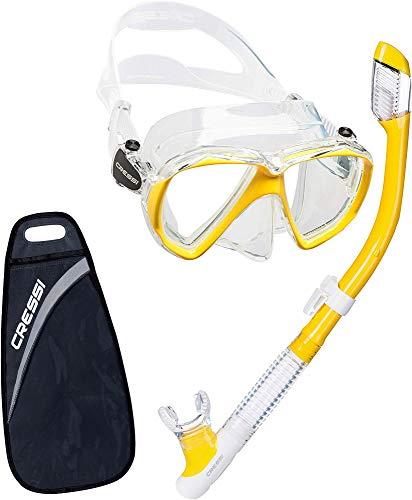 Cressi Ranger & Tao Dry - Combo Set Máscara y Snorkel, Unisex, Transparente/Amarillo