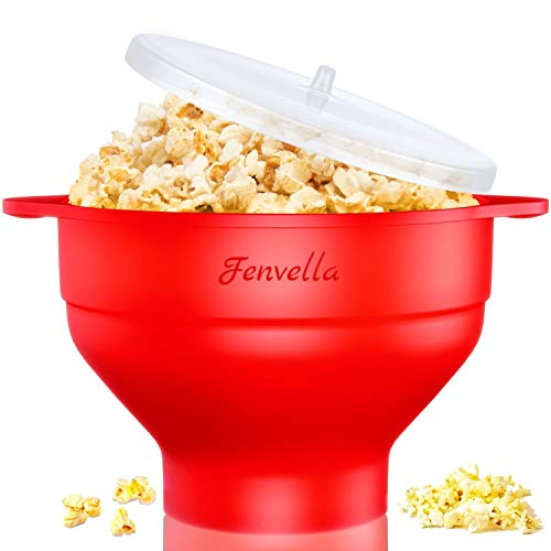 Microwave Silicone Popcorn Popper, Fenvella Collapsible Hot Air Microwavable Popcorn Maker BPA Free & Dishwasher Safe, Popcorn Bowl with Lid & Handle for Home Party (Red)