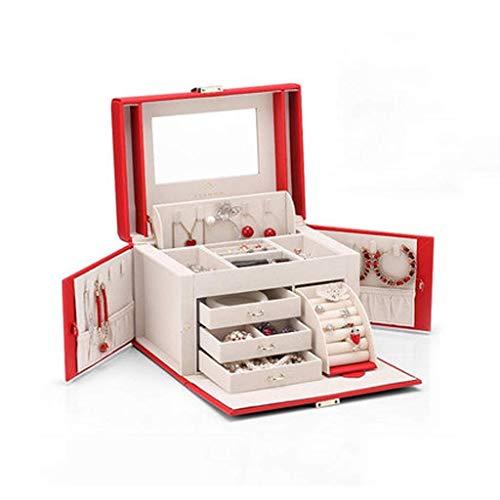 XIUYU Wandleuchte, Schmuckschatulle für Frauen Mädchen mit kleinem Reisekoffer Spiegel Halskette Ring Ohrringe Organizer (Farbe: rot) (Color : Red)