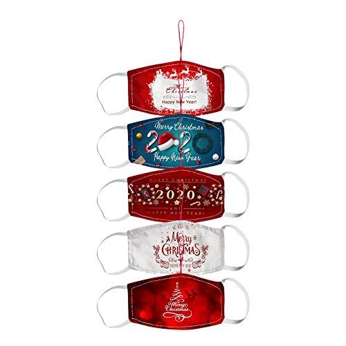 COMIOR 1/5 Stück Ornamente Anhänger Mundschutz Weihnachtsmann Schleifen Stoff Umweltfreundlich Dekoration Baumschmuck Weihnachtsdeko für Weihnachten 2021 (5 Stück, Gemischt 3)