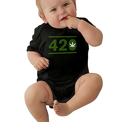 Inaayayi Bebé Onesies 420 Verde Hoja de Arce Cannabis Hoja de Malezas Cartel Promocional Bebé Bodys Unisex Infantil Manga Corta Body