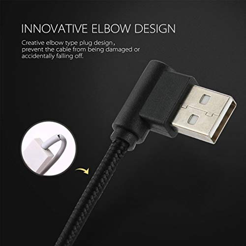 LoongGate Langer rechter Winkel Micro-USB-Kabel, Nylon geflochtene 90 Grad USB A bis Micro B-Aufladung & Data-Sync-Kabel für alle Micro-USB-Geräte-2 Meter (6,5 ft)-schwarz