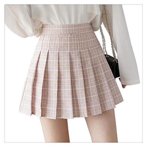 XS-3XL - Falda para mujer, estilo preppy de cintura alta, con costuras elegantes, falda plisada para estudiantes de verano, falda plisada para mujer (color: rosa hada, tamao: S)
