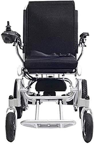 HZYDD Silla de Ruedas de aleación de Aluminio, Silla de Ruedas eléctrica portátil Plegable, Scooter, rotación de 360 °, Adecuado for la Multitud: Ancianos, discapacitados (Plata. 600x950 × 930cm)