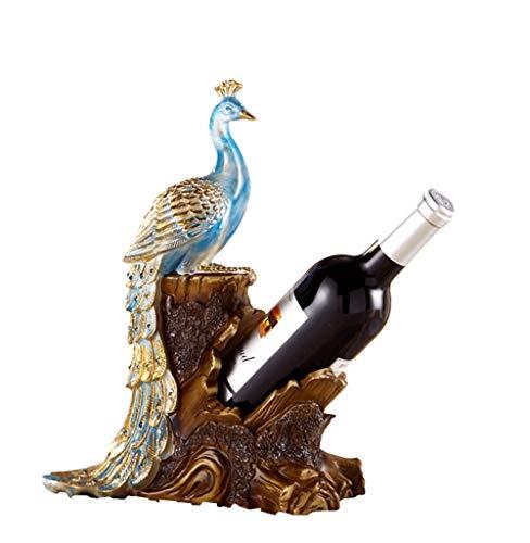 H-ei Noble Blue Peacock Wine Rack Resina Artesanía Personalidad Creativa Adornos de Escritorio Sala de Estar Vinoteca Decoraciones de Lujo