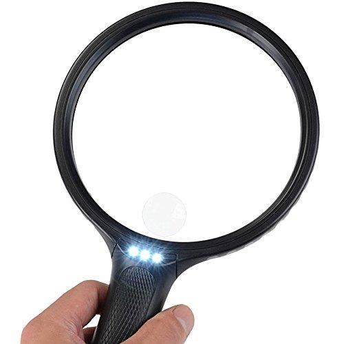 Lupe mit Licht, 3 LED Lupe Led, 140mm Lupe Groß 2X 5X Vergrößerungsglas-Leselupe für Senioren - Kratzfest-Handlupe zum Lesen, Inspektion, Hobby, Handwerk (Schwarz)