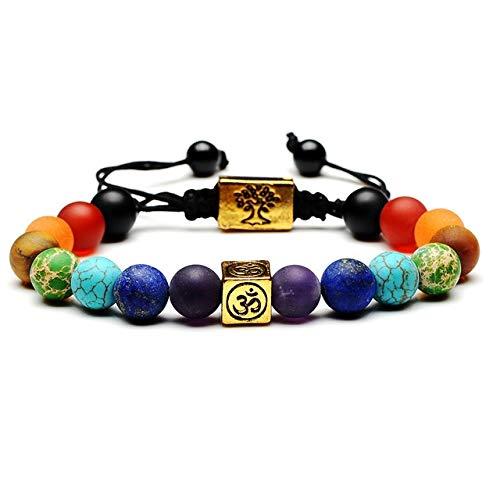 Beilaishi Árbol de la Vida Granos Multicolores Piedras Armadura Pulseras de la Cuerda de...