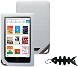 iShoppingdeals - for Barnes and Noble NOOK COLOR eBook Reader Tablet WiFi, Clear White Soft Silicone Skin Case Cover And Smart Headphone Wrap