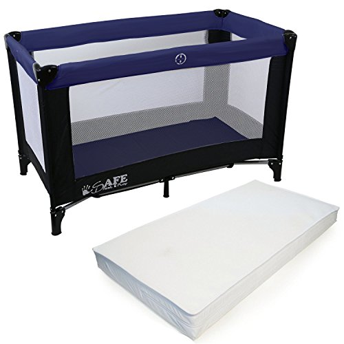 iSafe Rest & Play Luxury Travel Cot/Playpen - Navy (Black/Navy) 120 cm x 60...