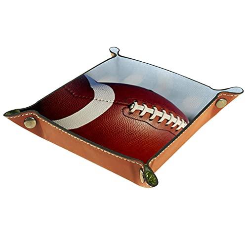 Sport Rugby Ball Grass - Bandeja de piel para mando a distancia, llaves, teléfono, billetera, moneda, joyería