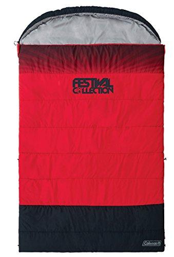 Coleman Schlafsack Coleman Deckenschlafsack FESTIVAL DOUBLE für zwei Personen, in Kooperation mit Rock im Park, mit ANTI-ODOUR Geruchshemmer. Abmessungen: 225 x 150 x 7 cm, rot-grau, XL, 2000032335