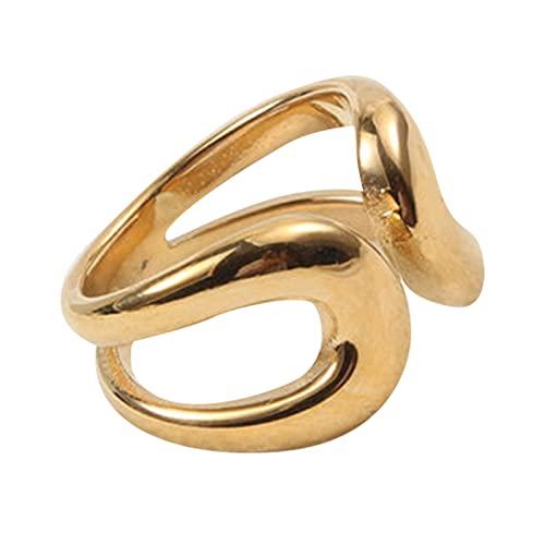 Jiaojie Anillo geométrico de acero de titanio medio abierto, simple y compacto, anillo de temperamento regalo para mujeres, madre, esposa, novia, amante