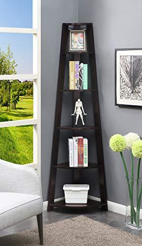 Convenience Concepts Newport 5-Tier Corner Bookcase, Espresso