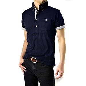 (フラグオンクルー) FLAG ON CREW ポロシャツ メンズ 半袖 ジャガード シャドーアーガイル / B0M / LL ネイビー・navy