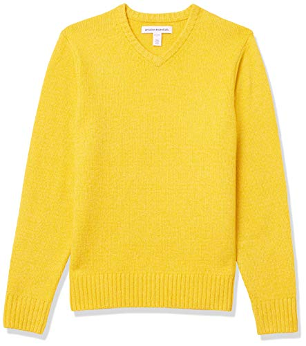 Amazon Essentials Men's Long-Sleeve Soft Touch V-Neck Sweater, Yellow, Large