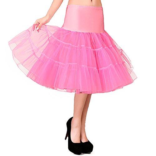 OCTOPUSIR Dames Frilly Petticoat Onderrokken Knielengte Crinoline 50s Retro Vintage Fla Tulle Voile Net Rokken Jurken voor Bruidsmeisjes Party Tutu Half Slips Rockabilly Swing