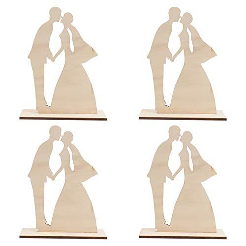 Amosfun Juego de 4 figuras de madera para boda, diseño de novia y novio