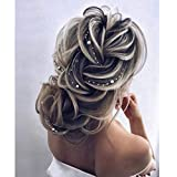 Unicra Sposa Fascia per capelli Argento Perla Capelli Vite Treccia Copricapo Accessori per capelli da sposa per Donna (Oro rosa)