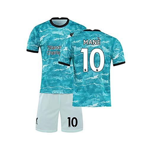 LCHENX-Männer 2021 Liverpool Football Club # 10 Sadio Mane Fußballfans Trikot Set,A Green,8~9Years