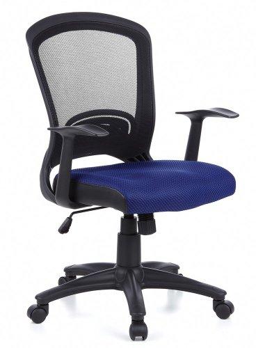 hjh OFFICE 668021 Sedia da Ufficio/Sedia Girevole FLYER 10 Mesh Blu, Braccioli fissi, Supporto Lombare Regolabile, Tessuto a Tete Traspirante