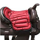 Almohadilla para silla de montar suave Almohadilla para asiento ecuestre Equipo para montar a caballo Amortiguador para silla de montar de PU integral Almohadilla para silla occidental Indolora,Rojo