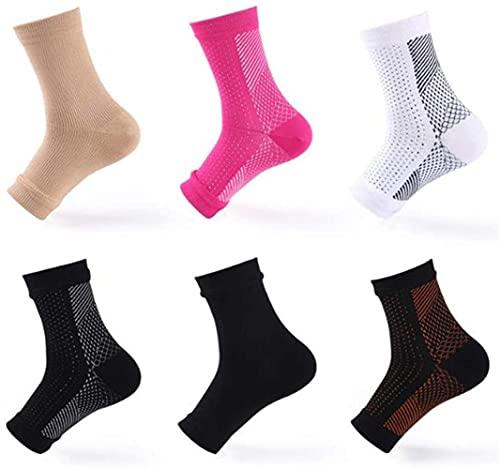FHK Calcetines de compresión para deportes al aire libre, para evitar esguinces del pie y absorber el sudor de la piel, material de nailon, 6 unidades (color carne)