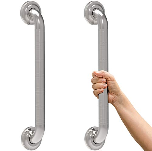 SAFETY+BEAUTY Decorative Stainless Steel Grab Bar with Knurled Anti-Skid Grip, ADA Compliant 500lbs Supporting, Polished Nickel 16inch 2-Pack