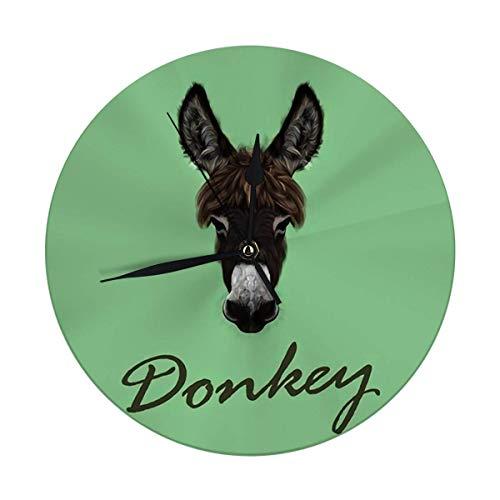 Mesllings Reloj de pared sin tictac, 9,8 pulgadas, diseño de burro marrón sobre verde