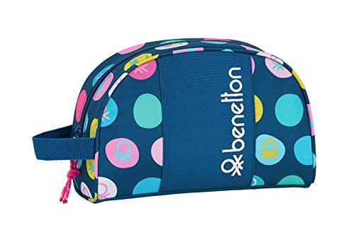 safta 812050332 Neceser, Bolsa de Aseo Adaptable a Carro Benetton, Multicolor (Topos Marino)