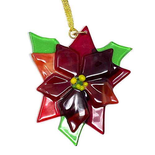 studioTica Poinsettia - Natural Leaf Reds - Handmade Glass Christmas Ornament - Traditional and Modern - Christmas Tree, Stocking Stuffer, Boss or Teacher Gift - 2020 Edition