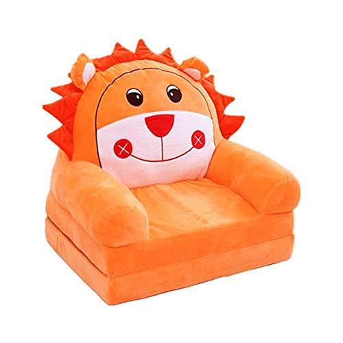 THMY Lindo Animal con Forma de sofá para niños pequeños sillón de Felpa Desmontable para niños Muebles para niños Silla de TV, Felpa (león marrón)